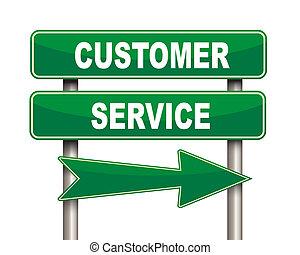 Customer service green road sign
