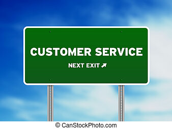 Customer Service Highway Sign - High resolution graphic of a...