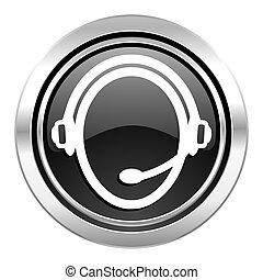 customer service icon, black chrome button