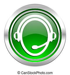 customer service icon, green button