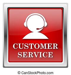 Customer service icon - Metallic icon with white design on...