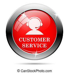 Customer service icon - Metallic round glossy icon with...