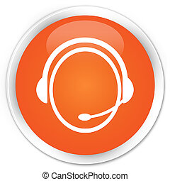 Customer service icon orange button