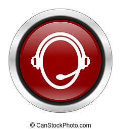 customer service icon, red round button isolated on white background, web design illustration