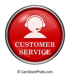 Customer service icon - Red round glossy icon with white...