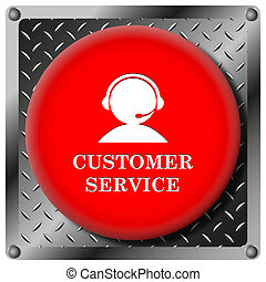 Customer service icon - Square icon with white design on red...