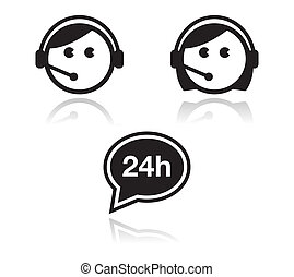Customer service icons set - Customer support man and woman...