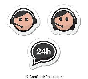 Customer service icons set, labels - Customer support man...