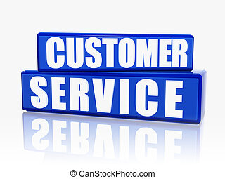 customer service in blue blocks