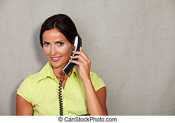 Customer service lady talking on phone
