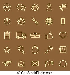 Customer service line color icons on brown background
