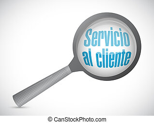Customer service magnify glass sign in Spanish