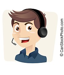 customer service man - A vector illustration of a male...