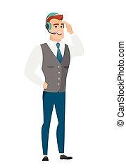 Customer service operator in headset.