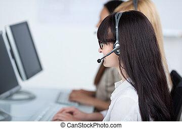 Customer Service Operator Using Headset
