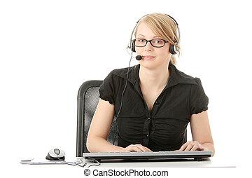 Customer service operator - Young beautiful customer service...