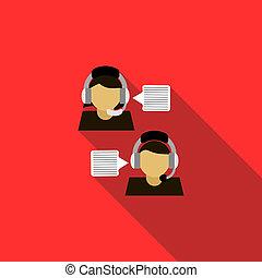 Customer service operators icon, flat style