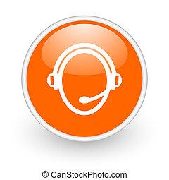 customer service orange circle glossy web icon on white background