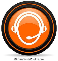 customer service orange glossy web icon on white background