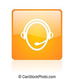customer service orange square glossy web icon