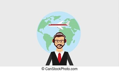 customer service people - agent call center world airplane...