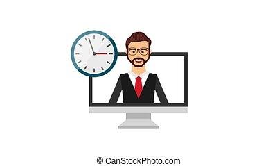 customer service people - businessman computer clock...