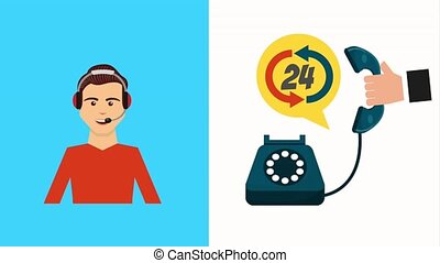 customer service people - call center agent and hand with...