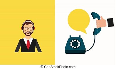customer service people - call center operator hand with...