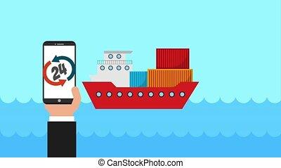 customer service people - delivery logistics service app...