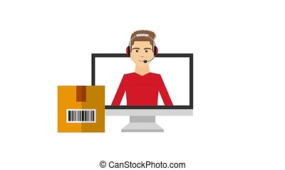 customer service people - dispatcher man delivery logistic...