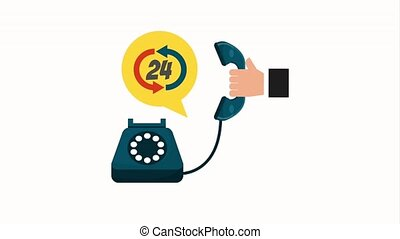 customer service people - hand holding telephone call center...