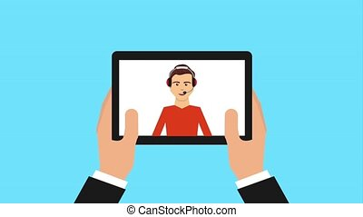 customer service people - hands holding tablet operator call...