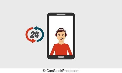 customer service people - operator call center app...