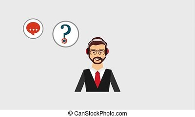 customer service people - support phone operator in headset...