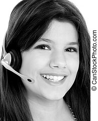 Customer Service - Beautiful teen girl with headset and big...