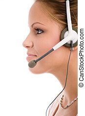 Customer Service - Happy young customer service girl in...