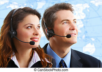 Customer service - Smiling business woman and businessman...