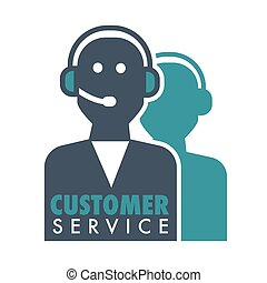 Customer service promotional emblem with human silhouette in headset