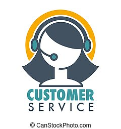 Customer service promotional emblem with woman operator in headset