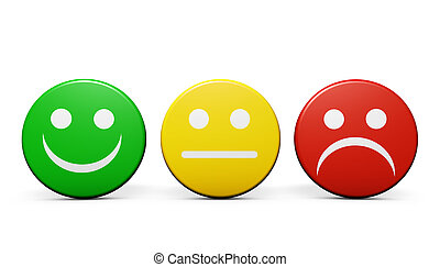 Customer service and product quality feedback concept with three emoticon icons and symbol on round badges isolated on white background.