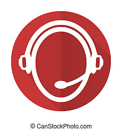 customer service red flat icon