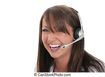 Beautiful and smiling customer service rep.