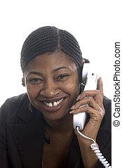 customer service represenatative beautiful smiling on phone...