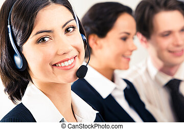 Face of pretty girl wearing headphone on the background of two speaking people