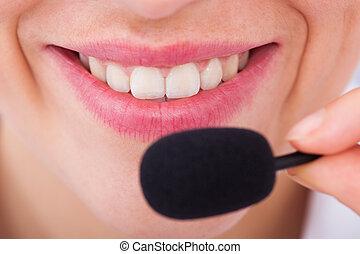 Customer Service Representative With Microphone