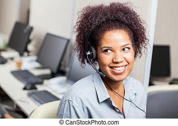 Customer Service Representative Working In Office - Happy...