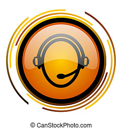 customer service round design orange glossy web icon