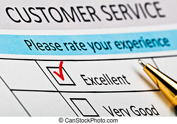 Customer service satisfaction survey form with red tick placed in excellent checkbox.