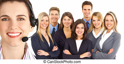 Customer service - Smiling business woman with headset in ...