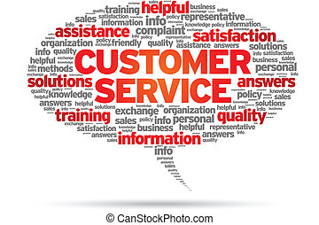 Customer Service speech bubble illustration on white background.